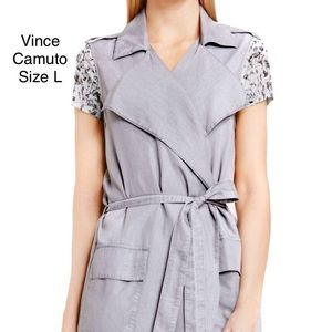 Two By Vince Camuto Gray Belted Trench Vest Jacket